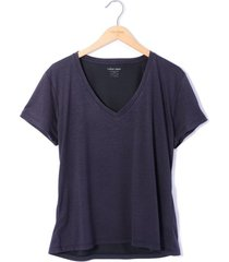 camiseta cuello v tela jersey viscosa para mujer color siete - gris charcoal