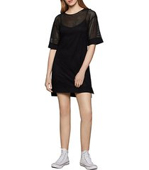 mixed-media mesh shift dress