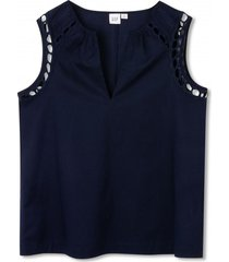 blusa sin mangas embroidery mujer azul gap