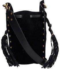 isabel marant radja shoulder bag in black suede