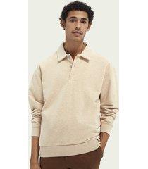 scotch & soda gestructureerde sweater met polo-inspiratie