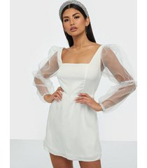missguided organza puff long sleeve dress skater dresses