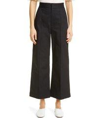 women's merlette piedra pintuck stretch twill wide leg ankle pants, size 8 - black
