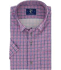 r2 shirt korte mouw roze blauw geruit