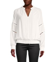 tommy hilfiger women's georgette tie neck blouse - ivory - size m
