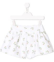 monnalisa floral fitted shorts - white