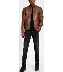 river island mens brown faux leather racer jacket