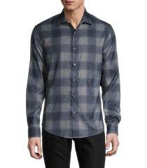 saks fifth avenue men's plaid long-sleeve shirt - navy blue - size xxl