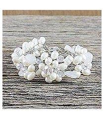 pearl and quartz beaded bracelet, 'bridal bouquet' (thailand)