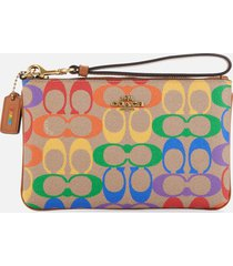 coach women's rainbow coated canvas signature small wristlet - tan penny multi