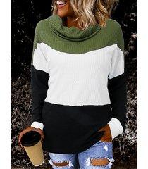 suéter de manga larga con cuello de chimenea en bloque de color