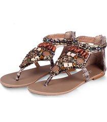 sandali piatti con cerniera con punta a clip vintage a vento nazionale con catena a perline della boemia