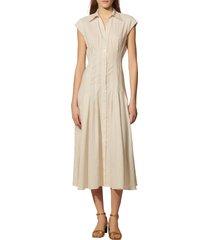 women's sandro stripe pleated woven fit & flare dress, size 8 us - beige