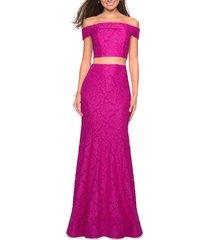 women's la femme stretch lace two-piece trumpet gown, size 6 - pink
