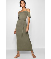 open shoulder maxi dress, khaki