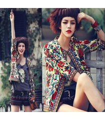 ethnic women embroidered printed 3/4 sleeve short coat ladies jacket outwear