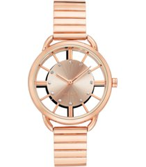 nine west women's crystal accented rose gold-tone bracelet watch, 35mm