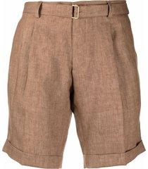 briglia 1949 straight-leg linen shorts - brown