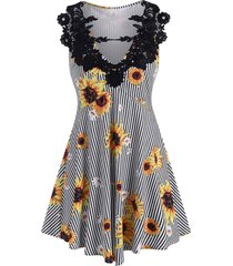 crochet lace panel sunflower striped longline top