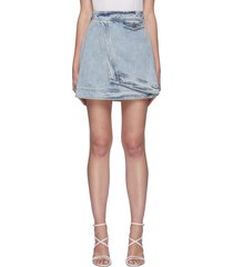 'overturn' denim wrap mini skirt