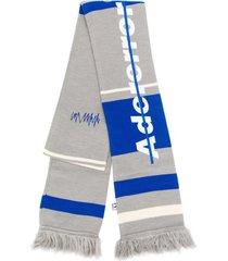ader error embroidered logo fringed scarf - grey