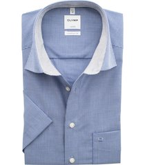 olymp comfort fit overhemd korte mouw blauw motief