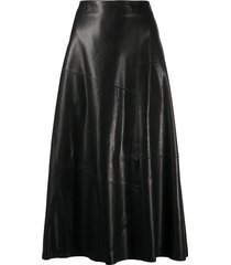 arma a-line leather skirt - black