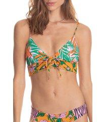 women's maaji enchanted garden lace-up reversible bikini top, size x-large - orange