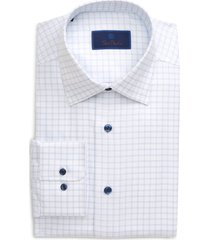 men's big & tall david donahue regular fit windowpane dress shirt, size 16 - 36/37 - white