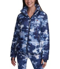 tommy hilfiger sport tie-dyed cropped thumbhole puffer coat
