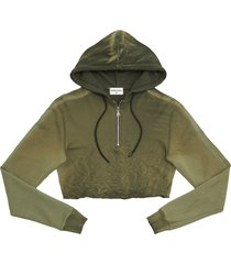 women's cotton citizen brooklyn half zip crop hoodie, size large - green