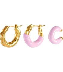 'feminine waves' hoop earring and ear cuff set of three