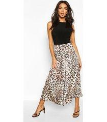 leopard satin print flared culottes, leopard