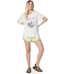 t- shirt silk flor preto