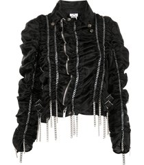 comme des garçons noir kei ninomiya draped chain asymmetric jacket -