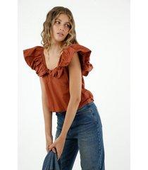 camisa de mujer, silueta amplia con cuello en v manga sisa y bolero sobredimensionado