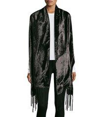 barja women's velvet & satin scarf - black