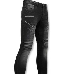 true rise biker jeans zip