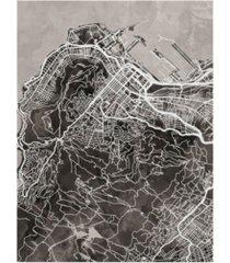 "michael tompsett cape town south africa city street map black canvas art - 37"" x 49"""