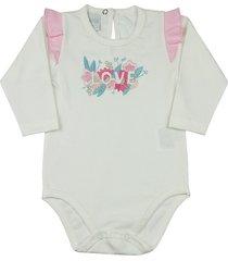 body ano zero bebê cotton bordado flores love - natural