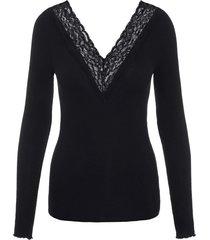 black lace v-neck top