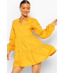 cotton tie neck tiered smock dress, mustard