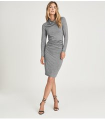 reiss sara - ruched wool-jersey bodycon dress in grey marl, womens, size xl