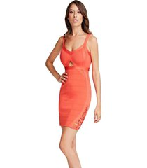 vestido sl knotty mirage naranjo guess