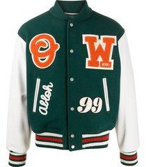 off-white logo patches varsity jacket - green