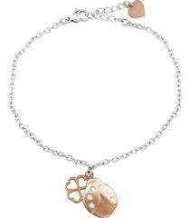 bracciale charms in acciaio bicolore e cristalli per donna