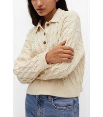 mango braided knit polo shirt