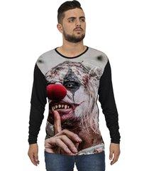 camiseta lucinoze camisetas manga longa evil clown one preto