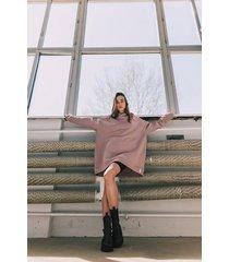 bluza oversize z kapturem dusty pink