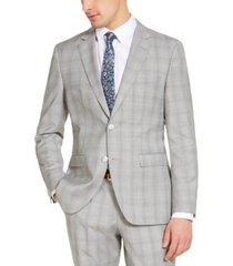 hugo men's modern-fit light gray plaid wool suit jacket, created for macy's